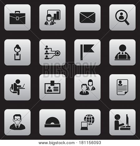 Set Of 16 Editable Office Icons. Includes Symbols Such As Epistle, Professor, Pennant And More. Can Be Used For Web, Mobile, UI And Infographic Design.