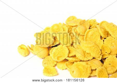 corn flakes top view on white background.
