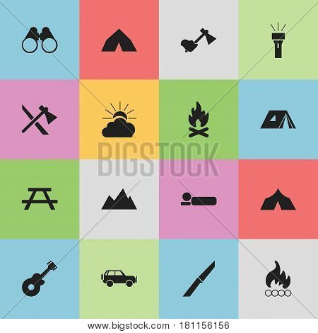 Set Of 16 Editable Camping Icons. Includes Symbols Such As Bedroll, Lantern, Peak And More. Can Be Used For Web, Mobile, UI And Infographic Design.