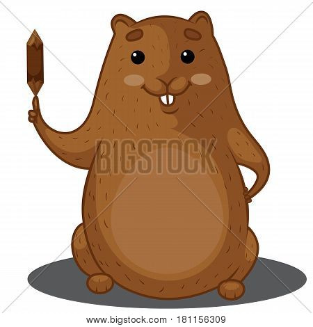 Beaver Character, Brown Beaver Sitting, Beaver with a Log, Hand Drawn Clipart, Vector Illustration EPS 10