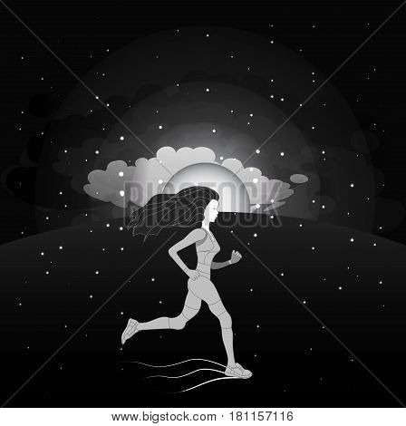 Running girl on morning sky background. Sunrise clouds stars. Night black and white sky. Vector illustration.