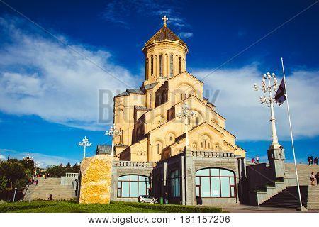 Holy Trinity Cathedral Tsminda Sameba in Tbilisi, Georgia. Georgian Orthodox Church. Welcome To Georgia. Tourist attraction. Religious background. Travel concept. Caucasus region. Walking tour