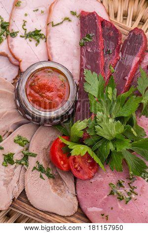 Carbonade pork, carbonade beef, pastrami, boiled mutton tongue