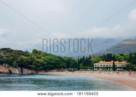 Beautiful romantic outdoor view with old luxury Villa Milocer Hotel in the park, Sveti Stefan, Milocer, Montenegro.