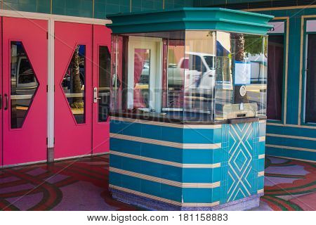 Retro Ticket Booth At Closed Movie Theater