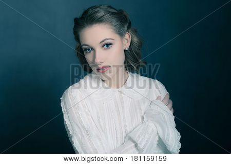 Retro 1940S Beauty Portrait Of Young Brunette Woman Wearing White Shirt.