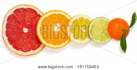 Top view of slices different citrus fruits (orange grapefruit lime lemon and tangerine) isolated on white background.