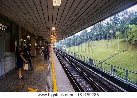 Singapore. October 2010. Train arrives at the Ang Mo Kio Station