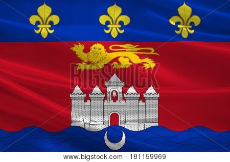 Flag of Bordeaux is a port city on the Garonne River in the Gironde department in southwestern France. 3d illustration poster