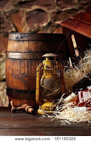 Whiskey Bottles. Posterous, Inverted Vintage Whiskey Wooden Containers Box, Kerosene Lantern Style O