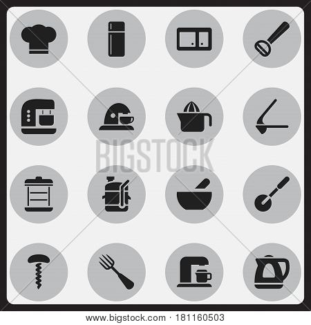 Set Of 16 Editable Meal Icons. Includes Symbols Such As Husker, Squeezer, Drink Maker And More. Can Be Used For Web, Mobile, UI And Infographic Design.