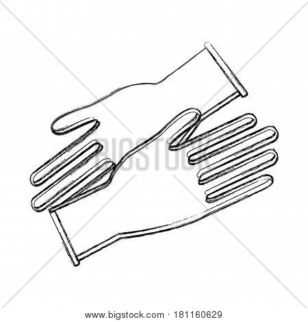 contour medical latex gloves to protection hands, vector illustration