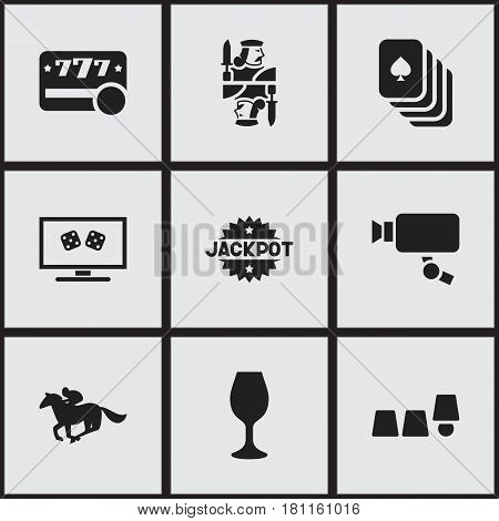 Set Of 9 Editable Gambling Icons. Includes Symbols Such As Playing Cards, Jockey, Raffle And More. Can Be Used For Web, Mobile, UI And Infographic Design.