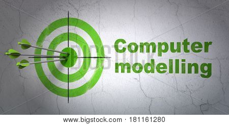 Success Science concept: arrows hitting the center of target, Green Computer Modelling on wall background, 3D rendering