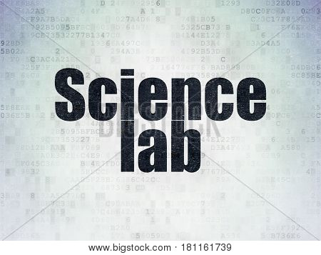 Science concept: Painted black word Science Lab on Digital Data Paper background