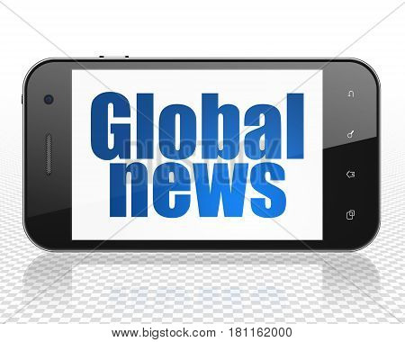News concept: Smartphone with blue text Global News on display, 3D rendering