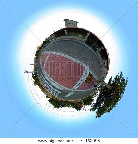 Little planet of the Church of San Sebastian, in Becerril de la Sierra.Comunidad de Madrid. Spain.