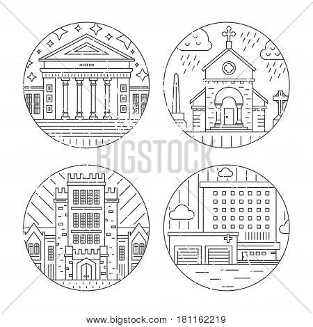 Vector illustration of different govenmental buildings including university, church, hospital. Trendy line style vector illustration. City architecture concept. Government buildings.