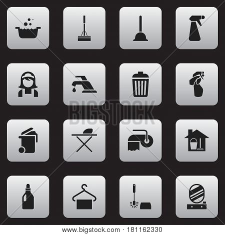 Set Of 16 Editable Dry-Cleaning Icons. Includes Symbols Such As Wc Cleaning, Hotel Staff, Rubber Drain And More. Can Be Used For Web, Mobile, UI And Infographic Design.