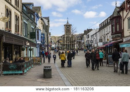 KESWICK UK - APRIL 7TH 2017: The beautiful town centre in Keswick located in the Lake District in Cumbria UK on 7th April 2017.