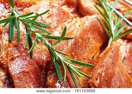 Marinated meat prepared for grilling. Chuck steak with herbs and spices