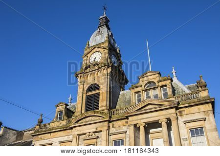 A view of the magnificent architecture of Kendal Town Hall in the historic town of Kendal in Cumbria UK.