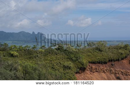 Red Dirt and Kong Mountain: view of the side of a cliff with lush shrubs and red dirt, with Kong Mountain in the background, on the Nounou trail, towards Sleeping Giant, on Kauai