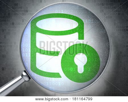 Software concept: magnifying optical glass with Database With Lock icon on digital background, 3D rendering