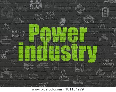 Industry concept: Painted green text Power Industry on Black Brick wall background with  Hand Drawn Industry Icons