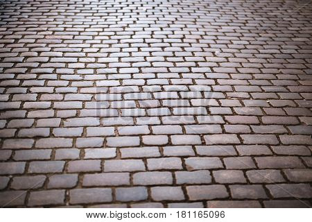 Cobble Stone Street Background in Ribe Denmark