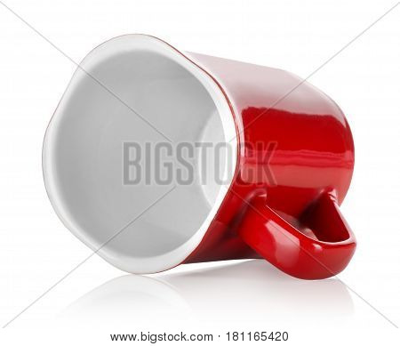 Red teacup isolated on a white background