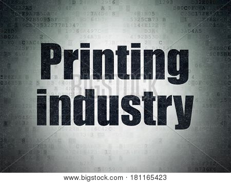 Manufacuring concept: Painted black word Printing Industry on Digital Data Paper background