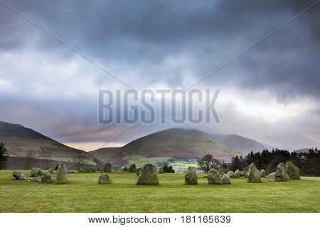 A view of Castlerigg Stone Circle in the Lake District in Cumbria UK.