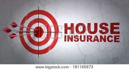 Success Insurance concept: arrows hitting the center of target, Red House Insurance on wall background, 3D rendering
