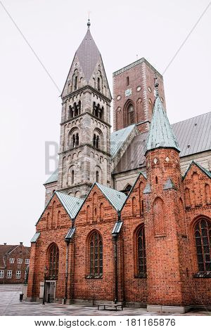 Famous church in City of Ribe Denmark