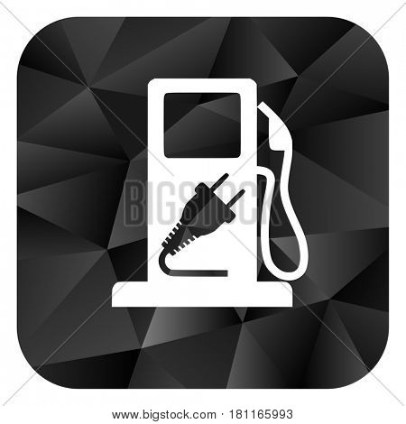 Hybrid fuel black color web modern brillant design square internet icon on white background.