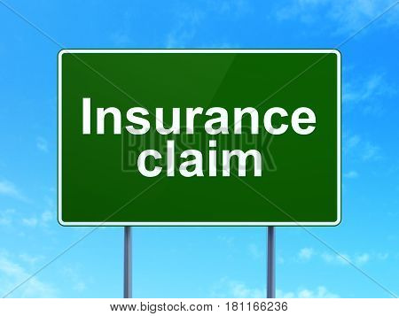 Insurance concept: Insurance Claim on green road highway sign, clear blue sky background, 3D rendering