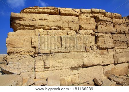 old ancient wall of sandstone in egypt
