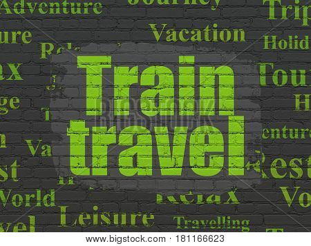 Travel concept: Painted green text Train Travel on Black Brick wall background with  Tag Cloud