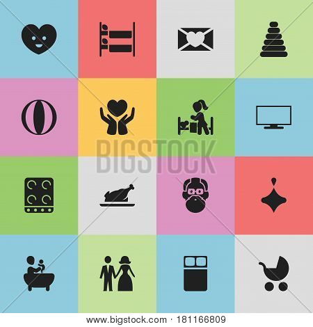 Set Of 16 Editable Kin Icons. Includes Symbols Such As Fried Chicken, Save Love, Mattress And More. Can Be Used For Web, Mobile, UI And Infographic Design.