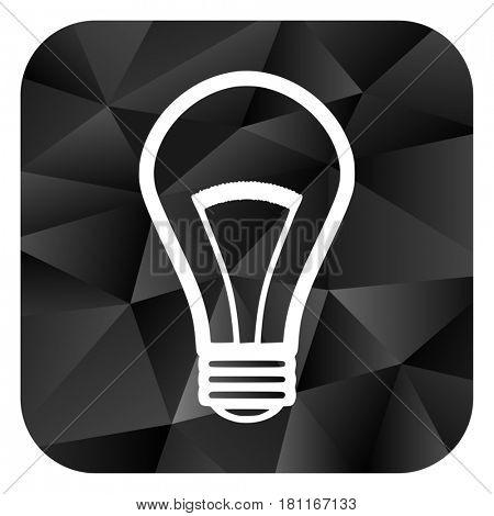 Bulb black color web modern brillant design square internet icon on white background.