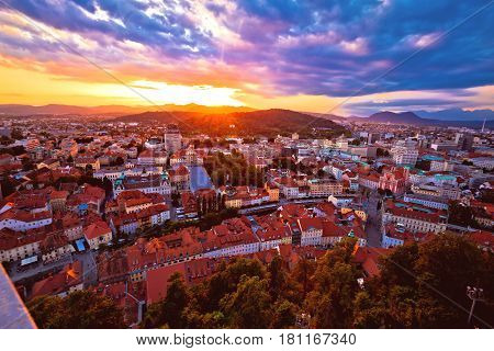 Sunset Above Ljubljana Aerial View