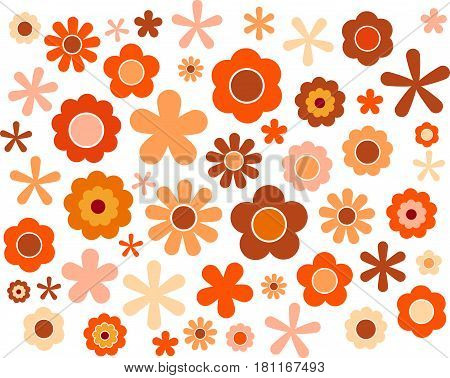 60's 70's cute colorful flowers set Autumn, vector