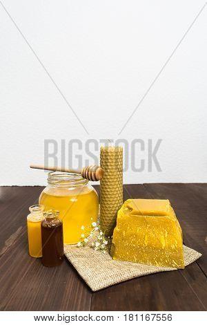 Honey Still Life With Liquid Honey And Beeswax