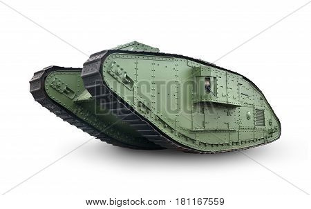 Green old tank isolated on a white background