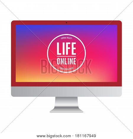 computer red color with colored screen isolated on white background. stock vector illustration eps10