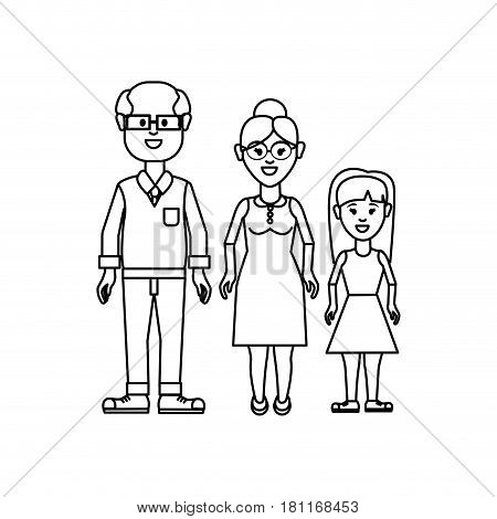figure grandparents with their granddaughter icon, vector illustration design