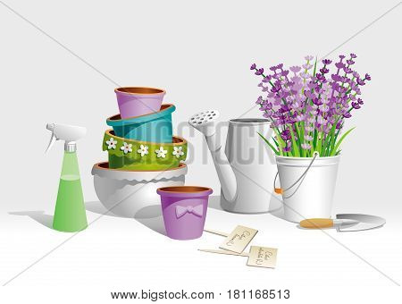 Garden tools, clay flowerpots and Lavender bouquet