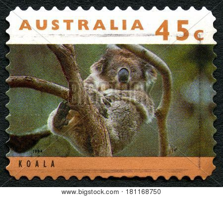 AUSTRALIA - CIRCA 1994: A used postage stamp from Australia depicting an image of a Koala circa 1994.