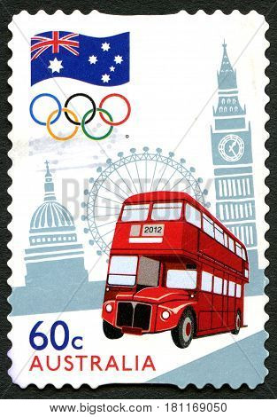 AUSTRALIA - CIRCA 2012: A used postage stamp from Australia commemorating the London 2012 Summer Olympic Games circa 2012.